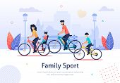 Family Sport Banner Vector Illustration. Parents And Kids Riding Bicycles. Active Vacation. Weekend  poster