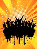 foto of party people  - Silhouette of party people on a grunge background - JPG