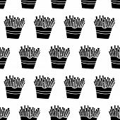 Cute Cartoon French Fries Pattern With Hand Drawn French Fries. Sweet Vector Black And White French  poster