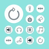 Multimedia Icons Set With Previous Music, Headphone, Sell Music And Other Note Donate Elements. Isol poster