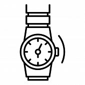 Gold Rap Watch Icon. Outline Gold Rap Watch Icon For Web Design Isolated On White Background poster