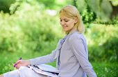 Remote Job Concept. Managing Business Remote Outdoors. Woman With Laptop Sit Grass Meadow. Best Jobs poster