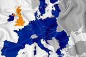Brexit On The Map Of Europe: Separation Of Great Britain From Europe. Map Of The States Of Europe In poster