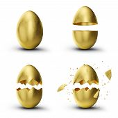 Golden, Luxury Easter Set Eggs. Set Golden Eggs Cracked, Broken Into Many Pieces Isolated On A White poster