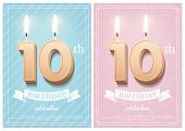 Burning Number 10 Birthday Candles With Vintage Ribbon And Birthday Celebration Text On Textured Blu poster