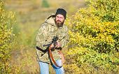 Harvest Animals Typically Restricted. Guy Hunting Nature Environment. Bearded Hunter Rifle Nature Ba poster
