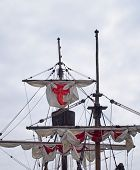 The Masts Sails And Rigging Of The Santa Maria A Historic Sailing Ship In Funchal Harbour With White poster