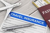 Travel Insurance Form Near Aircraft Model, Passport And Air Tickets On A Wooden Table Extreme Closeu poster