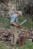 picture of machete  - Man with machete chop logs for firewood - JPG