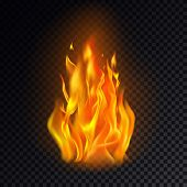 Realistic Fire Or 3d Flame, Hot Burn On Transparent Background. Flame Emoji Or Orange Heat Icon, Cam poster