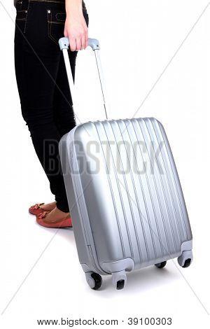 Reisenden mit Silber Koffer isoliert auf weiss