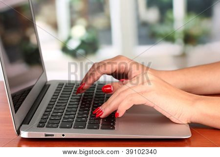 Detail of female hands using  computer on bright background