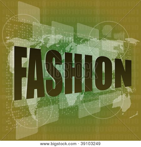 Fashion Word On Digital Screen Background