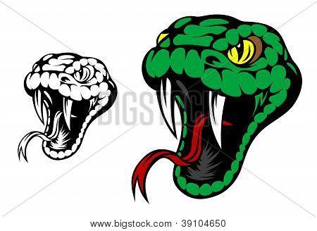 Mascote de cobra verde