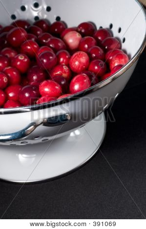 Fresh Cranberries In Colander