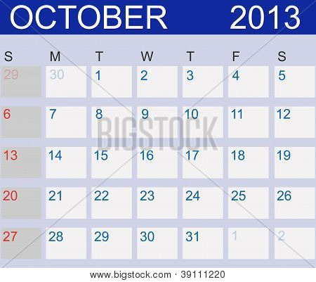 Calendar 2013. Vector IllustrationCalendar 2013. October. Vector