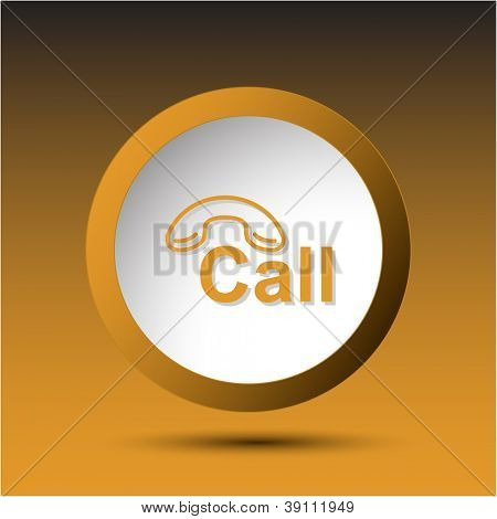 Hotline. Plastic button. Vector illustration.