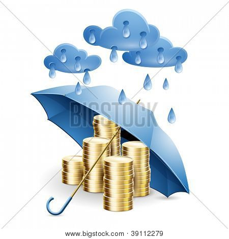 Money under the umbrella. Vector illustration on the theme of financial guarantee