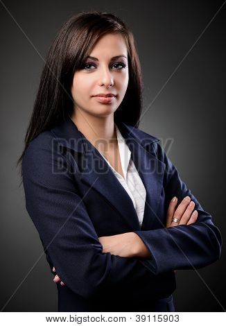 Low Key Portrait Of A Latin Businesswoman