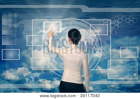 Businesswoman Pushing Virtual Button In Web Interface