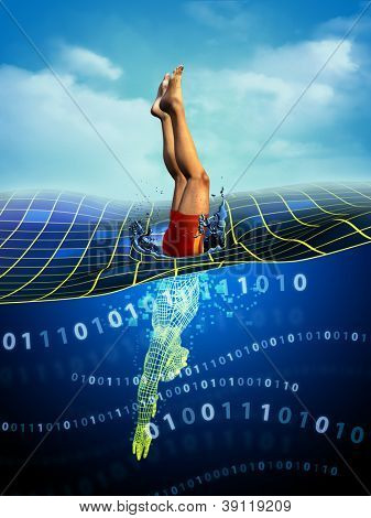 Man diving from physical reality to a digital dimension. Digital illustration.
