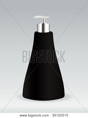 Black cosmetic container bottle for soap or gel