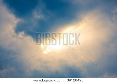 Light Ray From Sun Behind Cloud