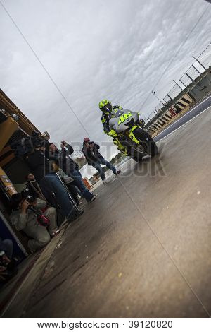 CHESTE - NOVEMBER 13: Valentino Rossi during first test of MotoGP for 2013, on November 13, 2012, in Ricardo Tormo Circuit of Cheste, Valencia, Spain