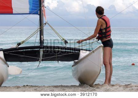 Woman And Sailboat