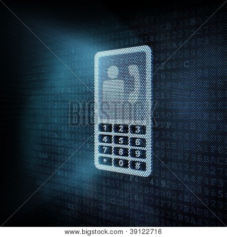 Pixeled smartphone illustration on digital screen