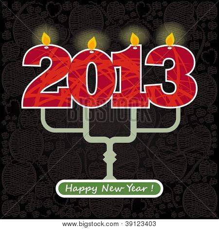 2013 Happy New Year candles greeting card. EPS10.