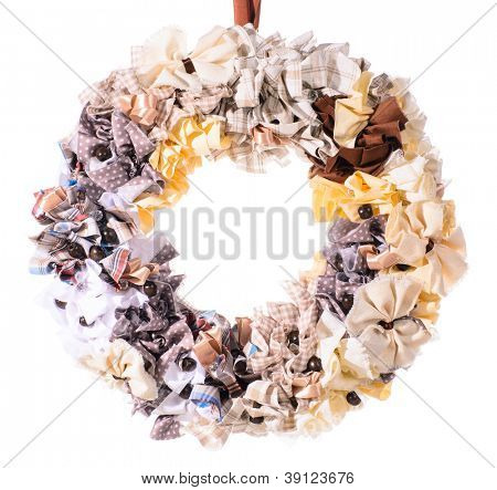 Christmas decorative wreath over white background