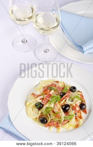 Fennel Salad Served with White White