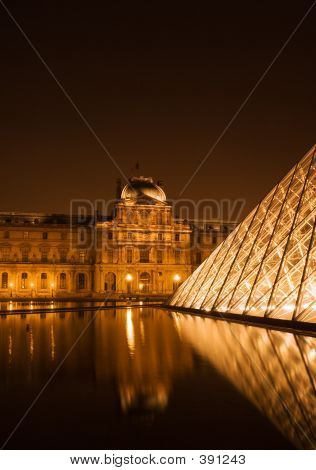 The Louvre Pyramid By Night