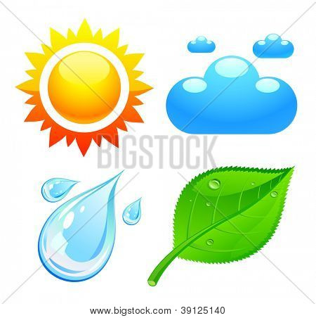 Symbols which represent four elements weather, fire, air and earth