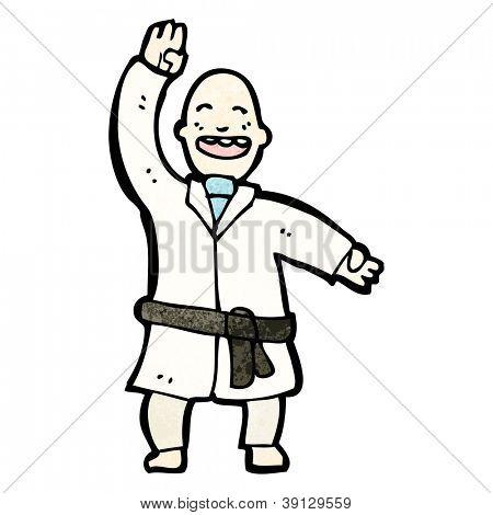 cartoon black belt martial arts man
