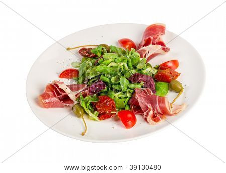 Salad from eruca and bacon on a white background