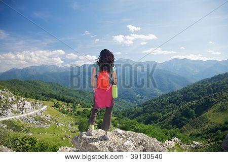 Trekking Woman In Picos De Europa
