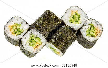 Kappa maki roll. Sushi Roll on a white background