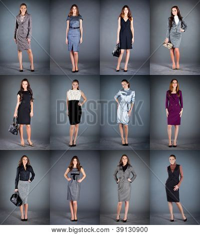 girls in different clothes, spring summer collection clothes