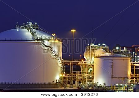 Hdr Impression Of Oil Tanks In The Port Of Rotterdam