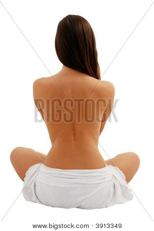 Beautiful Model From Back, Isolated On White