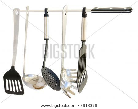 Kitchen Utensils Hanging From A Knife