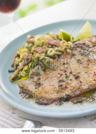 Skate Wing With Sherry Vinegar And Leeks