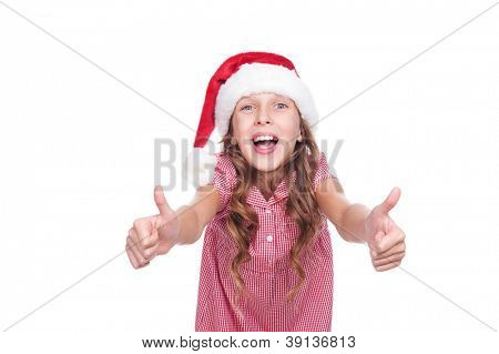 laughing little girl in santa claus hat. isolated on white background