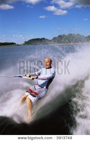 Man Water-Skiing With No Skis