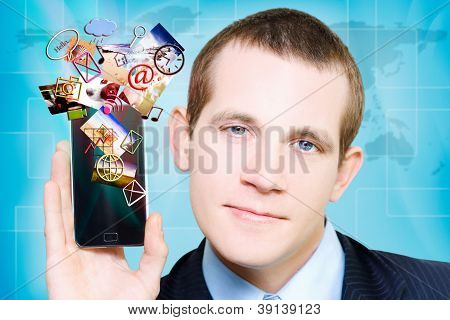 Business Man Steaming Media Apps On Smart Phone