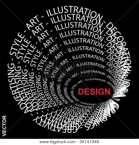 Vector eps concept or conceptual red and white round text wordcloud or tagcloud isolated on black background as metaphor for design,graphic,idea ,style,creative,artist,art,decor or abstract