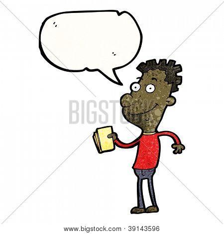 cartoon talking boy with tickets