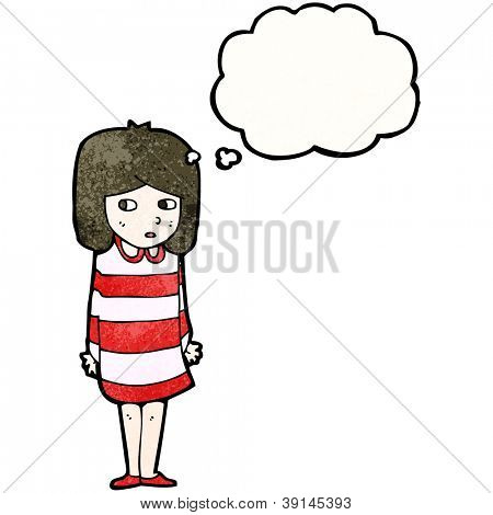 cartoon girl worrying